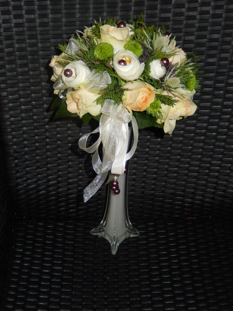 VO-020 | Biedermeier Bruidsboeket op draad - met lint   Toppie